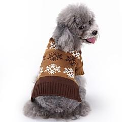 Γάτες Σκυλιά Παλτά Πουλόβερ Ρούχα για σκύλους Χειμώνας Άνοιξη/Χειμώνας Χιονονιφάδα Cute Μοντέρνα Χριστούγεννα Γκρίζο Καφέ
