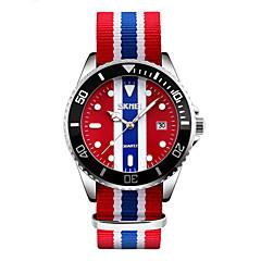 お買い得  メンズ腕時計-SKMEI 男性用 ファッションウォッチ リストウォッチ 日本産 クォーツ 30 m 耐水 カレンダー クール 生地 バンド ハンズ 多色 - レッド ブルー ピンク