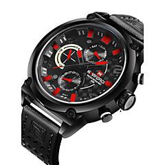 preiswerte Herrenuhren-NAVIFORCE Herrn Sportuhr / Armbanduhr Kalender / Duale Zeitzonen / Cool PU Band Luxus / Freizeit / Modisch Schwarz / Braun
