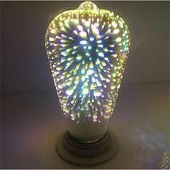 1pc st64 fajerwerki dekoracyjne 3d e27 edison żarówka impreza ciepły biały dekoracyjny światłach led świeci ac85-265v