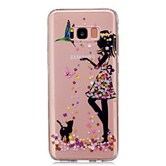 billige Galaxy S4 Mini Etuier-Etui Til Samsung Galaxy S8 Plus S8 IMD Transparent Mønster Bagcover Sexet kvinde Blødt TPU for S8 S8 Plus S5 Mini S4 Mini
