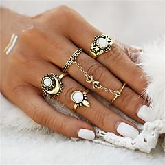 お買い得  指輪-5個 女性用 指輪 リングセット  -  オパール フラワー, 錨 レディース, 幾何学図形, ユニーク, ヴィンテージ, ボヘミアンスタイル, パンク ジュエリー ゴールド / シルバー 用途 クリスマスギフト 結婚式 パーティー Halloween 記念日 誕生日 ワンサイズ