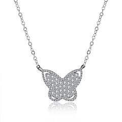 Mujer Collares con colgantes Collares de cadena Circonita Forma de Lazo Plata de ley ZirconioDiseño Básico Diseño Único Colgante