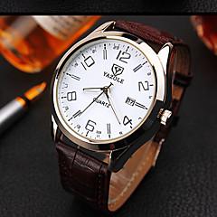 お買い得  メンズ腕時計-男性用 女性用 カップル用 クォーツ リストウォッチ 耐水 レザー バンド チャーム ファッション ブラック ブラウン