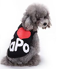 voordelige Hondenkleding & -accessoires-Kat Hond T-shirt Gilet Hondenkleding Letter & Nummer Zwart Grijs Katoen Kostuum Voor huisdieren Heren Dames Schattig Casual/Dagelijks