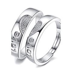 preiswerte Ringe-Paar Eheringe - Platiert Herz, Liebe Verstellbar Silber Für Hochzeit Party Besondere Anlässe