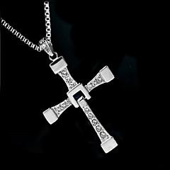 preiswerte Halsketten-Herrn Synthetischer Diamant Anhängerketten - Zirkon, Diamantimitate Kreuz Luxus, Modisch Silber Modische Halsketten Schmuck Für Hochzeit, Party, Alltag