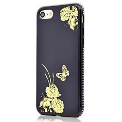 Для позолоченного цветка бабочки узор стороны горный хрусталь функция зеркала мягкий чехол для телефона tpu для iphone 7 плюс 7 6 с плюс 6