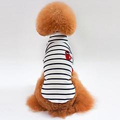 お買い得  猫の服-ネコ 犬 Tシャツ スウェットシャツ 犬用ウェア 縞柄 ホワイト ブルー コットン コスチューム ペット用 男性用 女性用 カジュアル/普段着