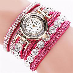 preiswerte Tolle Angebote auf Uhren-Damen Quartz Armband-Uhr Imitation Diamant Leder Band Glanz / Modisch Schwarz / Weiß / Silber