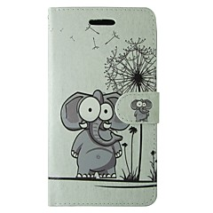 voordelige Galaxy A3 Hoesjes / covers-hoesje Voor Samsung Galaxy A5(2017) A3(2017) Kaarthouder Portemonnee met standaard Flip Volledig hoesje Olifant Paardebloem Cartoon dier