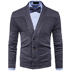 cheap Men's Sweaters & Cardigans-Men's Daily / Weekend Solid Colored Long Sleeve Regular Cardigan, V Neck Fall / Winter Wool Red / Dark Gray / Navy Blue L / XL / XXL
