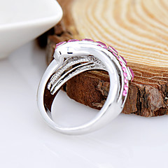 お買い得  指輪-女性用 指輪  -  ラインストーン, 合金 ファッション, 欧米の 5 パープル / フクシャ / 混色 用途 誕生日 / イベント/パーティー