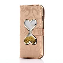 Недорогие Кейсы для iPhone 7 Plus-Кейс для Назначение Apple iPhone 7 / iPhone 7 Plus Кошелек / Бумажник для карт / со стендом Чехол С сердцем Твердый Кожа PU для iPhone 7 Plus / iPhone 7 / iPhone 6s Plus / Движущаяся жидкость