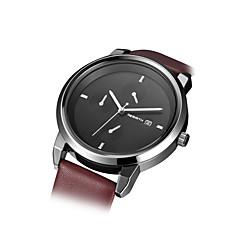 REBIRTH Heren Modieus horloge Kwarts PU Band minimalistische Bruin