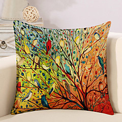 cheap Pillows-1 Pcs Colorful Tree Of Life Birds Pillow Cover Square Sofa Cushion Cover Cotton/Linen Pillow Case