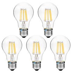 preiswerte LED-Birnen-BRELONG® 5 Stück 8W 600 lm E27 LED Glühlampen A60(A19) 8 Leds COB Warmes Weiß Weiß AC 200-240 V