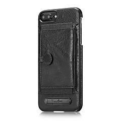 Недорогие Кейсы для iPhone-Для яблока iphone 7 плюс 7 держатель карты чехлов с подставкой для задней крышки чехол твердый цвет твердая натуральная кожа для iphone 6s