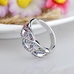 お買い得  指輪-女性用 指輪  -  ラインストーン, 合金 ファッション, 欧米の 5 フクシャ / ブルー / 混色 用途 誕生日 / イベント/パーティー