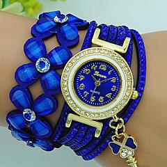 preiswerte Tolle Angebote auf Uhren-Damen Quartz Armband-Uhr Strass Leder Band Blume Böhmische Schwarz Blau Rot Braun