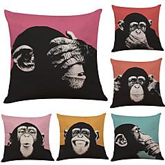 abordables Almohadas-6 PC Lino Funda de almohada Cobertor de Cojín, Un Color Geométrico Con Texturas Estilo playero Reforzar Tradicional/Clásico