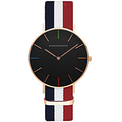 お買い得  大特価腕時計-男性用 クォーツ リストウォッチ ホット販売 ナイロン バンド カジュアル ファッション ストライプ ブラック 白 ブルー レッド ピンク