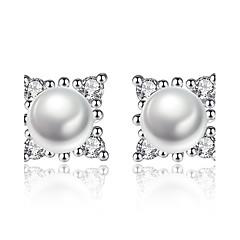 preiswerte Ohrringe-Damen Ohrstecker Kubikzirkonia Imitierte Perlen Kreisförmiges Blume Schmuck Abschluss Geschäft Alltag Party