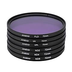 Andoer 72mm uv cpl fld nd (nd2 nd4 nd8) kit de filtro de fotografía filtro de densidad neutra fluorescente de polarización circular