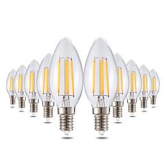 お買い得  LED 電球-YWXLIGHT® 10個 4W 300-400lm E14 LEDキャンドルライト C35 4 LEDビーズ COB 調光可能 装飾用 温白色 220-240V