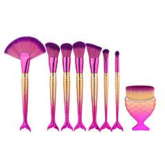 8pcs zeemeermin visvorm make-up ventilatorborstel voor zachte kosmetische borstel set kabuki kit