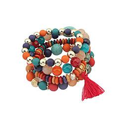 billige Damesmykker-Dame Charm-armbånd Smykker Vintage Bohemisk Natur Indledende smykker Fødselssten Hip-hop Gotisk Stræk Perler Metallisk Cirkelformet