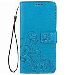 Недорогие Чехлы и кейсы для Xiaomi-Кейс для Назначение Другое Xiaomi Бумажник для карт Кошелек со стендом Флип Рельефный Чехол Сплошной цвет Цветы Твердый Кожа PU для