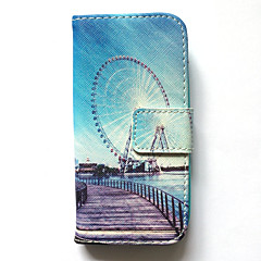 Hoesje voor Samsung Galaxy S4 mini case hoesje kaarthouder portemonnee met tribune flip-patroon full body hoesje city view hard pu leer