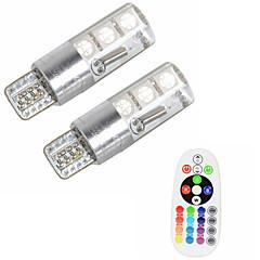 2pcs t10 w5w 5050 smd rgb masina de citire a luminii lumina lampa 6 led 16 culori a condus bliț / strobe bec cu controler de la distanță