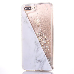 Til iPhone 8 iPhone 8 Plus Etuier Rhinsten Flydende væske Mønster Bagcover Etui Glitterskin Marmor Hårdt PC for Apple iPhone 8 Plus