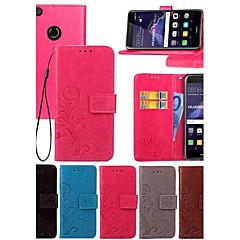 Недорогие Кейсы для Huawei других серий-Кейс для Назначение Huawei Honor 7 / Huawei P9 / Huawei P9 Lite Кошелек / Бумажник для карт / со стендом Чехол Однотонный Твердый Кожа PU для P10 Plus / P10 Lite / P10 / Huawei P9 Plus / Mate 9 Pro