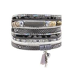 preiswerte Armbänder-Damen Glasperlen Lederarmbänder - Leder Böhmische, Natur, Modisch Armbänder Braun / Rot / Blau Für Hochzeit / Jahrestag / Party