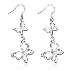 preiswerte Ohrringe-Damen Geometrisch Tropfen-Ohrringe - versilbert Schleife Personalisiert, Luxus, Modisch Silber Für Party Abschluss Alltag