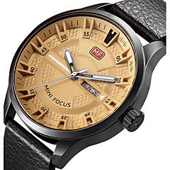 Men's Unique Creative Watch Casual Watch Sport Watch Fashion Watch Wrist watch Quartz Calendar Genuine Leather Band Charm Luxury Creative