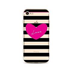 Недорогие Кейсы для iPhone 5-Кейс для Назначение Apple iPhone X iPhone 8 Plus Прозрачный С узором Кейс на заднюю панель Полосы / волосы С сердцем Мягкий ТПУ для