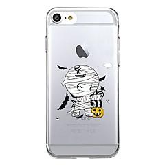 Недорогие Кейсы для iPhone 6-Кейс для Назначение Apple iPhone 7 Plus iPhone 7 Прозрачный С узором Кейс на заднюю панель С собакой Halloween Мультипликация Мягкий ТПУ