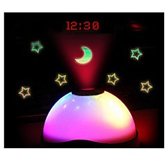 Color Changing Star Sky Night Light LED Magic Digital Projection Starry Alarm Clock Time