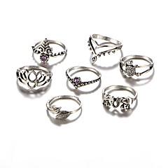 preiswerte Ringe-Damen Ring - Acryl, Aleación Elefant, Blattform, Blume Retro, Rockig, Modisch Eine Größe Silber Für Alltag Normal Party / 7tlg