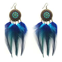 Lureme New Design Bohemia Blue Gradient Feather Tassel Dangle Earrings
