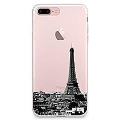 Недорогие Кейсы для iPhone 7 Plus-Кейс для Назначение Apple iPhone 7 Plus iPhone 7 Прозрачный С узором Кейс на заднюю панель Эйфелева башня Мягкий ТПУ для iPhone 7 Plus