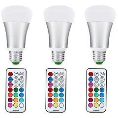 お買い得  LED 電球-3本 10W 1000lm E27 LEDボール型電球 A70 1 LEDビーズ COB 調光可能 装飾用 RGB +ウォーム 85-265V