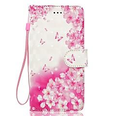 Футляр для iphone 7 плюс 7 3d эффект цветок бабочка узор внутренняя диаграмма диапазона pu материал кошелек отделение телефон корпус 6