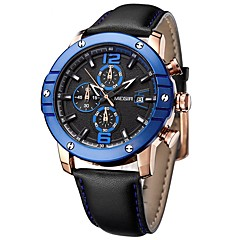 MEGIR Hombre Reloj de Vestir Reloj de Moda Chino Cuarzo Esfera Grande Cuero Auténtico Banda Cool Casual Negro