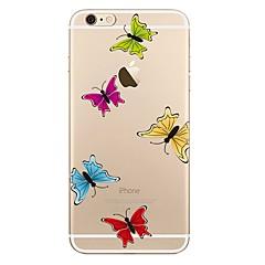 Недорогие Кейсы для iPhone 7-Кейс для Назначение Apple iPhone 7 Plus iPhone 7 Прозрачный С узором Кейс на заднюю панель Бабочка Мягкий ТПУ для iPhone 7 Plus iPhone 7