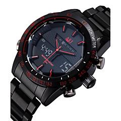 preiswerte Tolle Angebote auf Uhren-ASJ Herrn Armbanduhr Schwarz 30 m Wasserdicht Alarm Kalender Analog-Digital Luxus - Schwarz Rot Blau Zwei jahr Batterielebensdauer / Edelstahl / Chronograph / LCD / Duale Zeitzonen